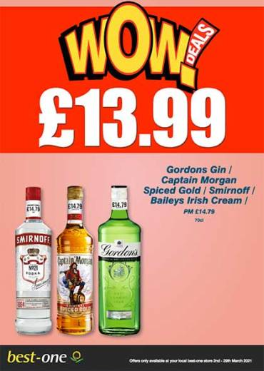 Gordons Gin /  Captain Morgan  Spiced Gold / Smirnoff / Baileys Irish Cream  PM £14.79