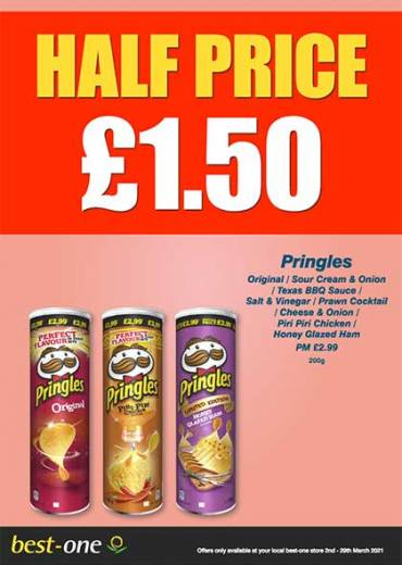 PringlesOriginal / Sour Cream & Onion / Texas BBQ Sauce /  Salt & Vinegar / Prawn Cocktail / Cheese & Onion /  Piri Piri Chicken /  Honey Glazed Ham PM £2.99