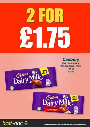 CadburyMilk / Fruit & Nut /  Chopped Nut / White PM £1